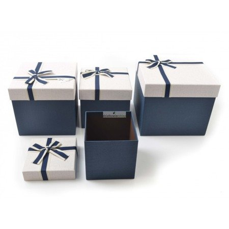 Komplet pudełek kwadratowych (3 szt.) - granatowe