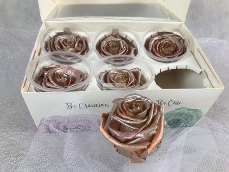 Róże wieczne (różowy metalik) 5,5 cm