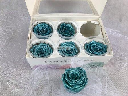 Róże wieczne (turkusowy metalik) 5,5 cm