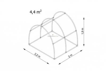 Tunel foliowy *Bv2* 2,0 x 2,2 x 1,9m folia 4UV (rozsuwany)
